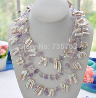 HOT 001380 3row 28mm pink BAROQUE biwa PEARL Crystal NECKLACE