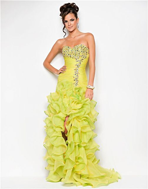 Newest High Low Pattern Prom Dress Short Front Long Back Prom