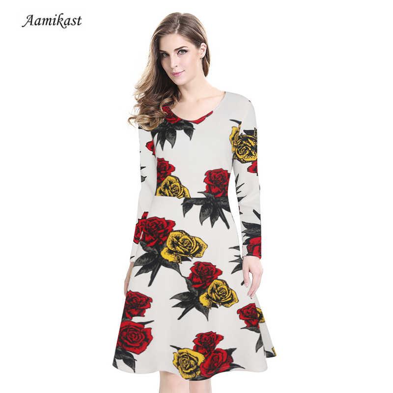 Aamikast 2019 осеннее женское платье длинный рукав, цветочный принт, Костюмы хлопок 50 s повседневное, праздничное, вечернее платья с пышной юбкой