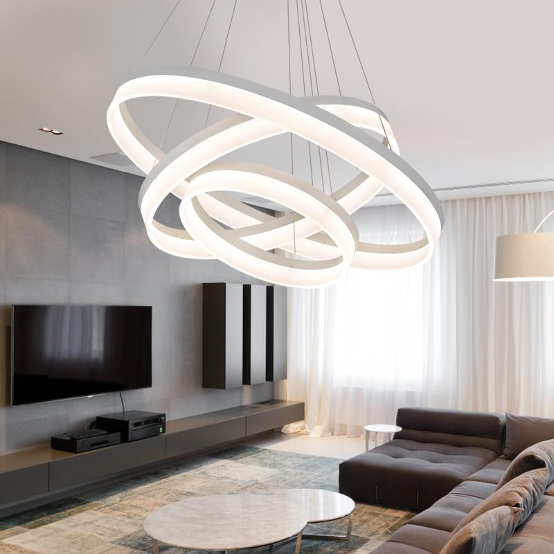 Fernbedienung Moderne Kreative Pendelleuchte Wohnzimmer Esszimmer 3 2 Kreis Ringe Acryl Aluminium Krper LED Leuchte
