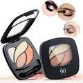 1 pcs Cosméticos 4 Cores Matte Pigmento Paleta Da Sombra de Olho Com Escova Espelho Nu Shimmer Da Sombra de Maquiagem Natural Nu