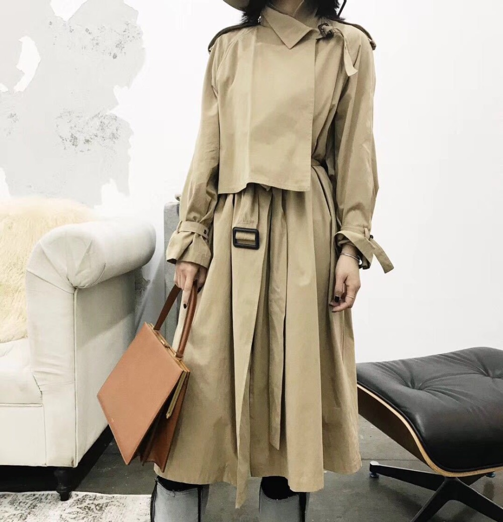 Classic Women Medium Long Loose Spring Autumn   Trench   Fashion Korean Style Unique Design Wind Coats
