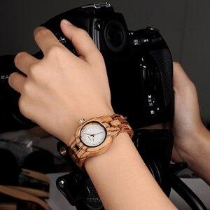 Image 2 - BOBO ptak zegarek kobiety bambusa Zebra drewniane klejnoty naśladować luksusowej marki kwarcowe zegarki w drewnianym pudełku XFCS relogio feminino W O29