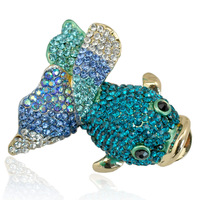 Mdiger Brand Crystal Animal Brooches For Women Girl Jewelry Gifts Cute Goldfish Collar Pins Scarf Lapel