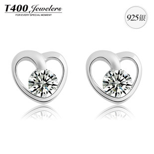 Christmas gift T400 made with AAA zircon 925 sterling silver heart pendant earrings For women 8230