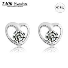 Christmas gift T400 made with AAA zircon,925 sterling silver,heart pendant earrings, For women, #8230,free shipping
