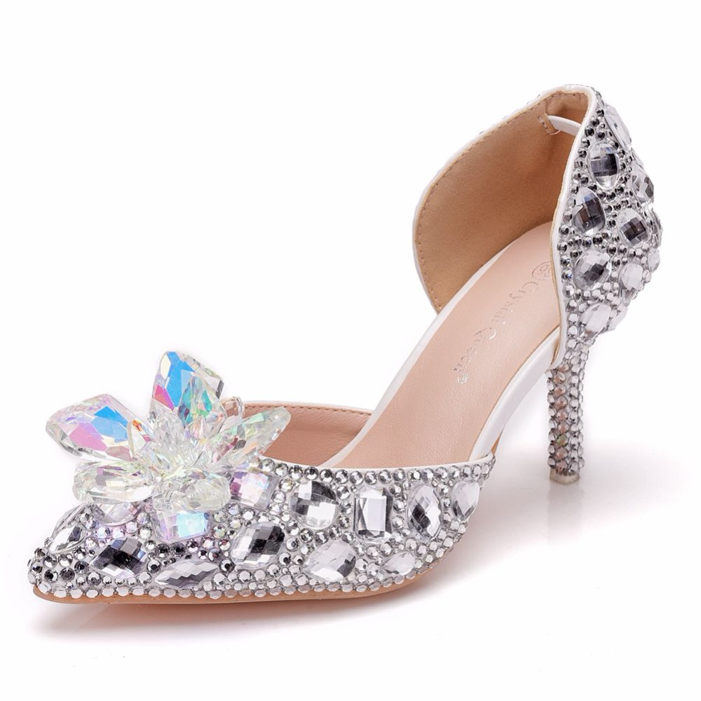 de9347893 Crystal Queen Women Thin Heel Sandals High Heels Female White Rhinestone  Wedding Shoes Pointed Toe Lace Flower Pearls Pumps