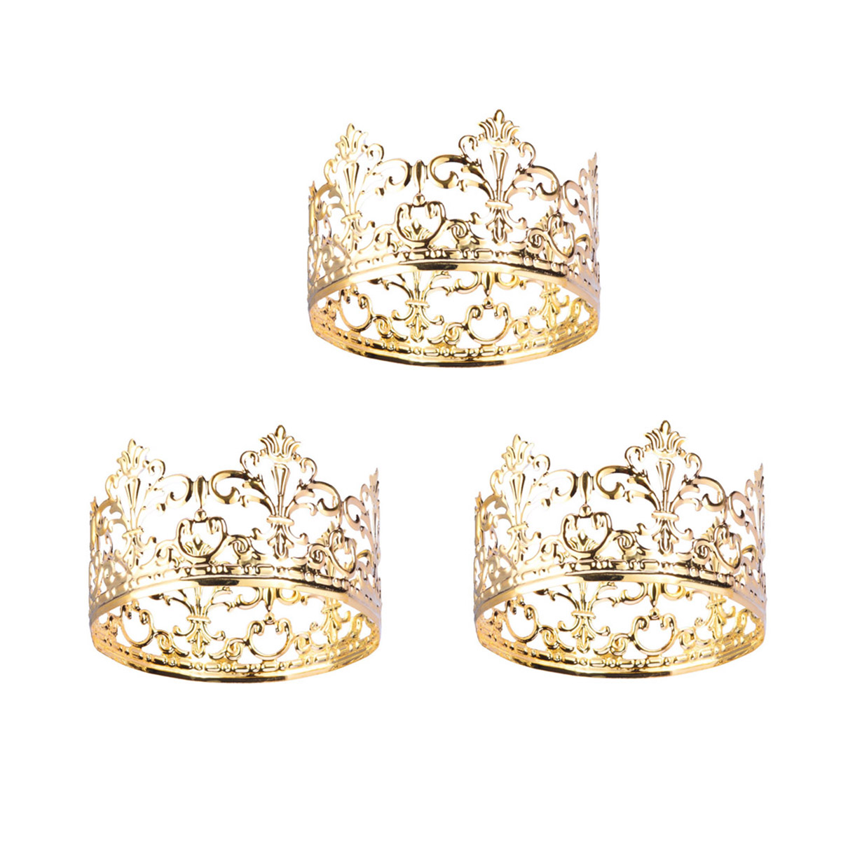 Pack Of 3 Elegant Beautiful Royal Fashion Luxury Crown Cake Topper Cake Decoration For Prince Queen King Princess Themed Parties