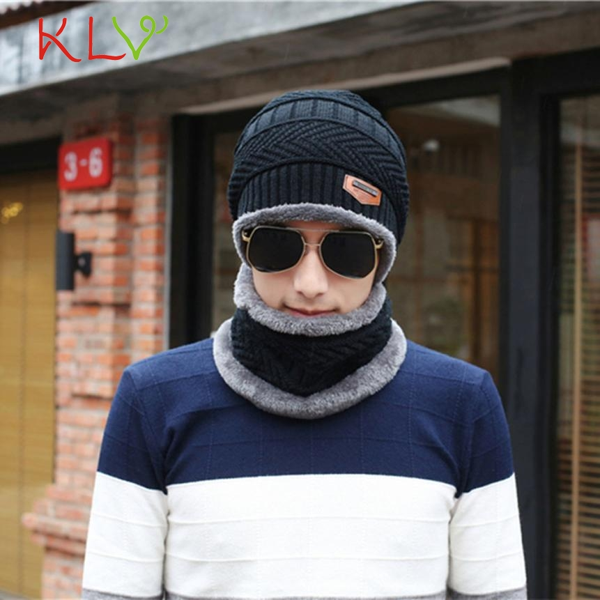 Skullies & Beanies Men Winter Warm Fleece Camping Hat Beanie Baggy Wool Ski Cap + Scarf Levert Dropship 302 Hot Dropship wool skullies cap hat 10pcs lot 2289