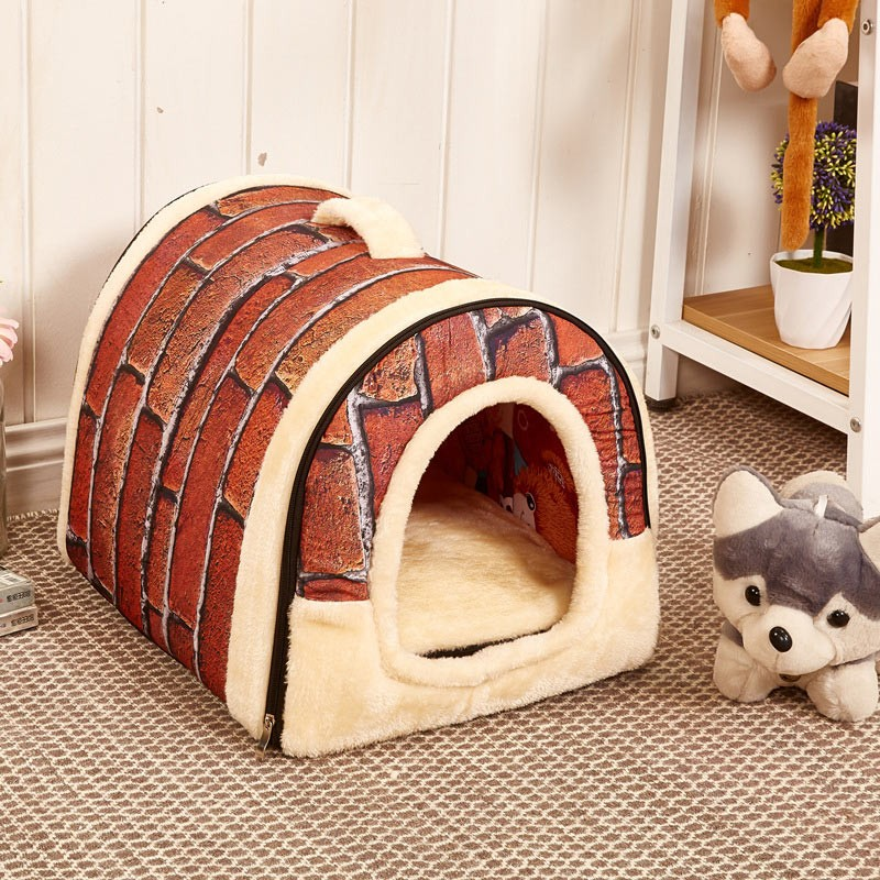 CAWAYI KENNEL Dual Use Soft Plush Dog Bed Dog Kennel Pet House For Puppy Dogs Cat Small Animals Mat U0856 3