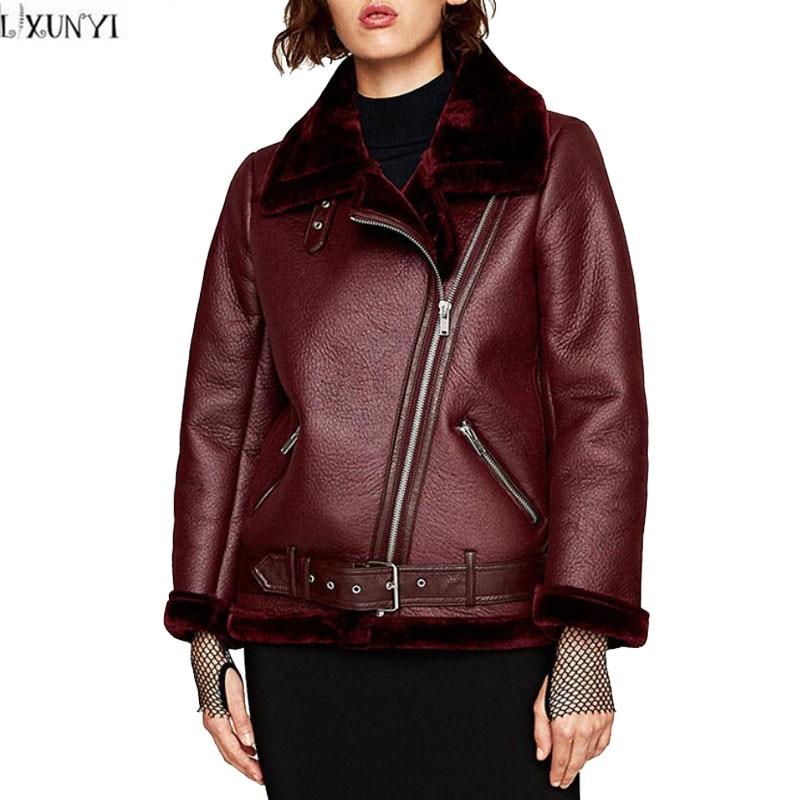 LXUNYI Womens outerwear 2018 Winter New Fashion Long Sleeve Thick Medium Long Motorcycle jacket Women Leather Coat Belt Green
