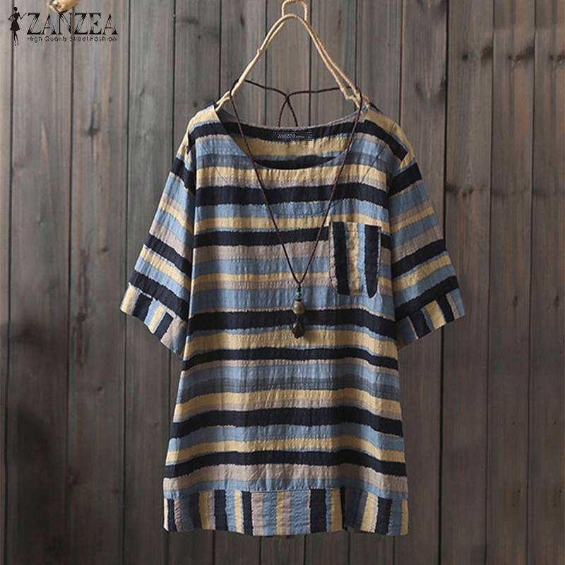 ZANZEA Plus Size Women's Striped Shirts Blouses Casual Cotton Linen Tops 2019 Summer Vintage Print Tunic Tops Blusa Feminina 5XL
