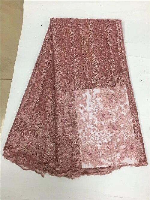 Belo tule tecido de renda líquida africano com contas de alta qualidade tecido laço francês africano para o vestido de casamento yda082 - 5