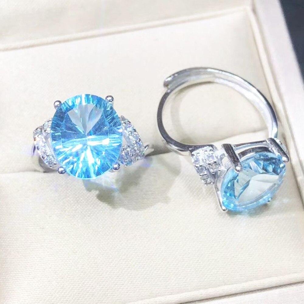 Bague Simple avec topaze bleu ciel naturel 10x12 MM en argent sterling 925 bague en pierres précieuses concaves pour femmes cadeau de bijoux saint-valentin