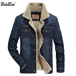 Image 1 - BOLUBAO Winter Men Denim Jackets Coat New Mens Street Trend Jackets Male Brand Plus Velvet Thickening Denim Jacket Coats