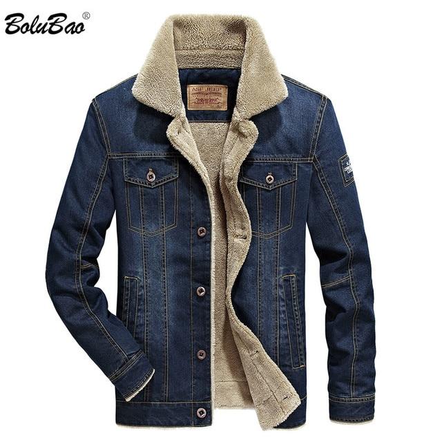BOLUBAO Winter Men Denim Jackets Coat New Mens Street Trend Jackets Male Brand Plus Velvet Thickening Denim Jacket Coats