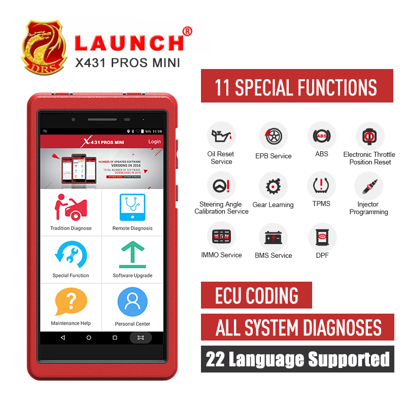 LAUNCH X431 PRO PROS MINI Bluetooth WIFI OBD2 Diagnostic tool Full System Car OBDII Diagnostic Scanner Tool ECU Coding Car Tool-in Battery Measurement Units from Automobiles & Motorcycles