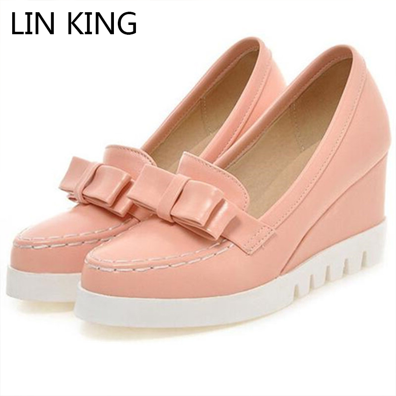 LIN KING Bow Tie Slip On Wedges High Heels Women Pumps Round Toe Pu Platform Autumn/Spring Lady Party Shoes Plus Size 34-43 Pink lady glitter high fashion designer brand bow soft flock plus size 43 leisure pointed toe flats square heels single shoes slip on