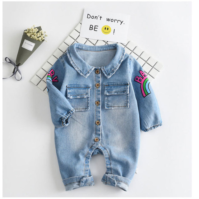 58ebdd17388c Fashion Baby Boy Jumpsuit Cartoon Denim Long Sleeve Infant Outfits ...