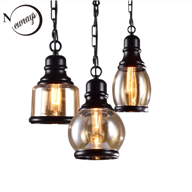 Modern Industrial painted glass pendant lamp LED E27 220V Edison bulb Pendant Light Fixture For Kitchen dining room bedroom cafe