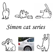 Cartoon Fuel Cap Car Sticker Funny Hungry SIMONS CAT Sticker for Lada Granta Largus Kalina 4*4 Priora 2110 2109 110 car-styling
