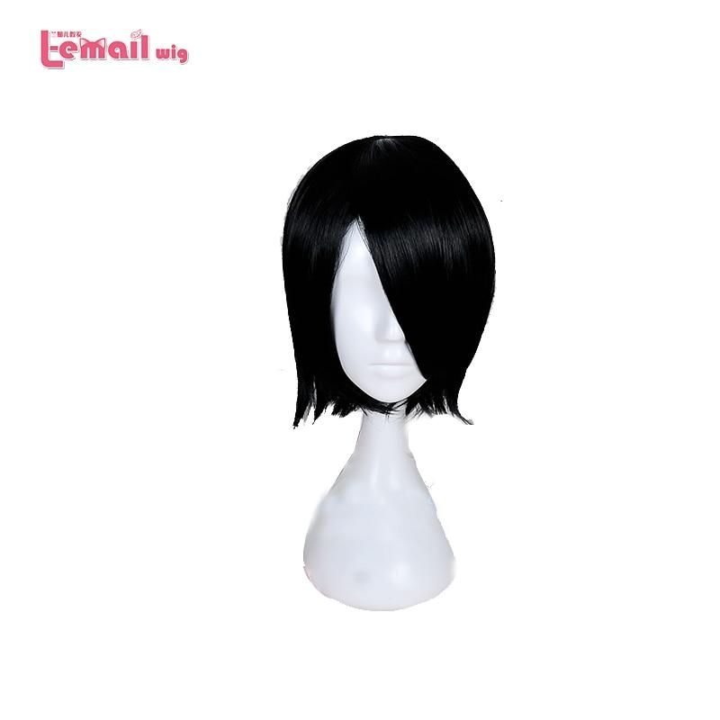 L-e-mail Sarada 35 cm NARUTO Uchiha Cosplay Perucas peruca Nova Chegada Preto Resistente Ao Calor Cabelo Sintético Perucas Cosplay peruca