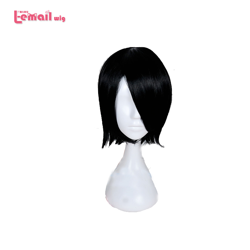 L-email Wig New Arrival 35cm NARUTO Uchiha Sarada Cosplay Wigs Black Heat Resistant Synthetic Hair Perucas Cosplay Wig