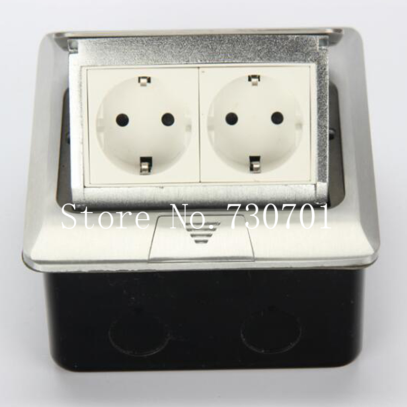Manufacturer All Aluminum Panel EU Standard Pop Up Floor Socket 2 Way Electrical Outlet Modular Combination Customized Available manufacturer all aluminum panel eu standard pop up floor socket single power outlet dual usb port page 2