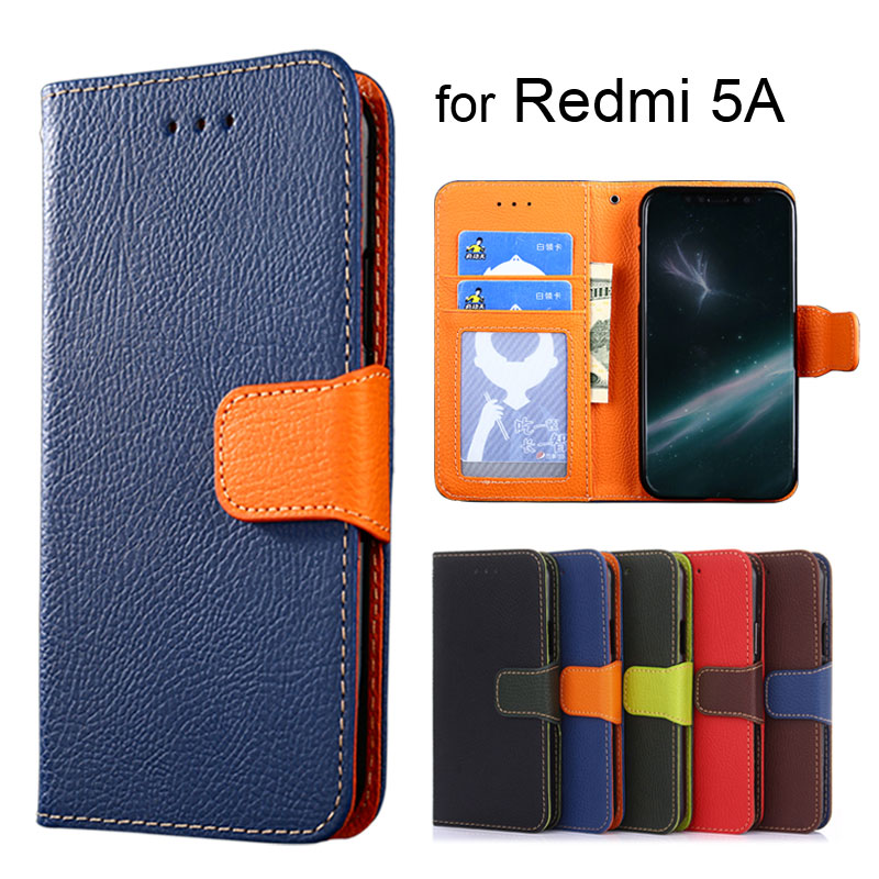 Wallet case for Xiaomi Redmi 5A 5.0inch Litchi pattern PU leather with inside soft TPU cover coque Hit color Fashion style
