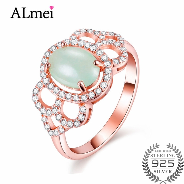 almei 2ct real silver 925 wedding rings element jade rose gold color green zircon fine jewelry - Jade Wedding Ring