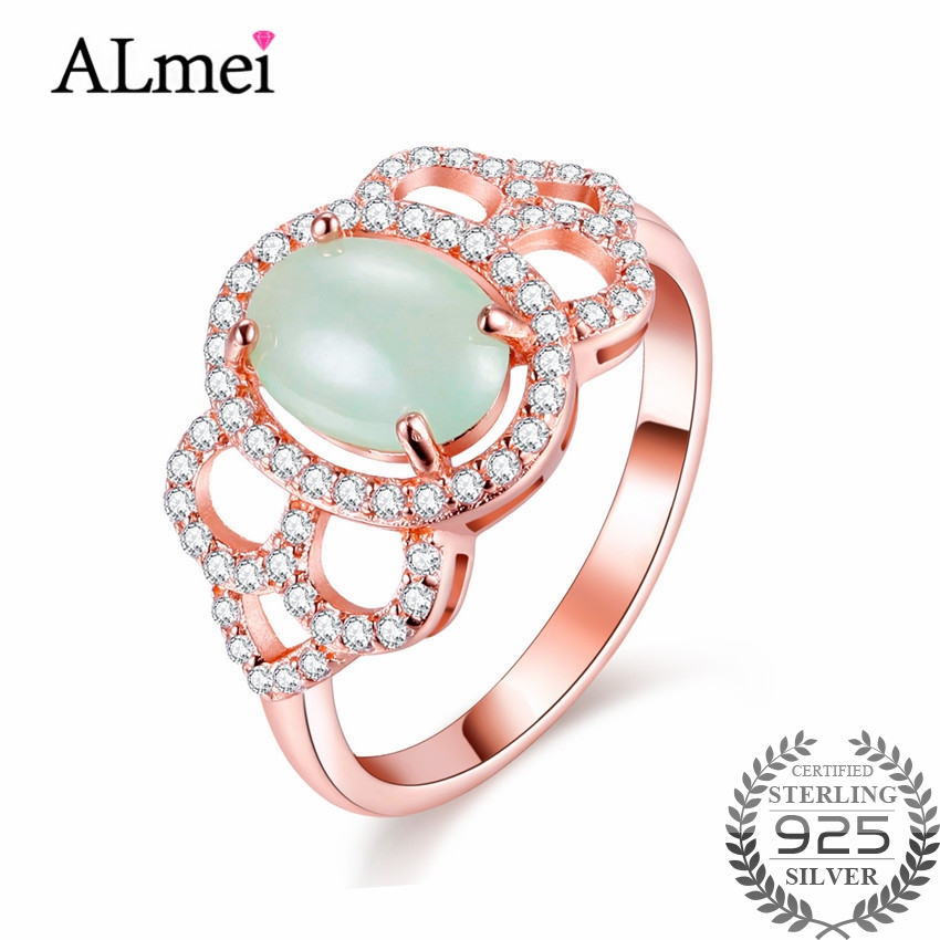 Almei 2ct Real Silver 925 Wedding Rings Element Jade Rose Gold