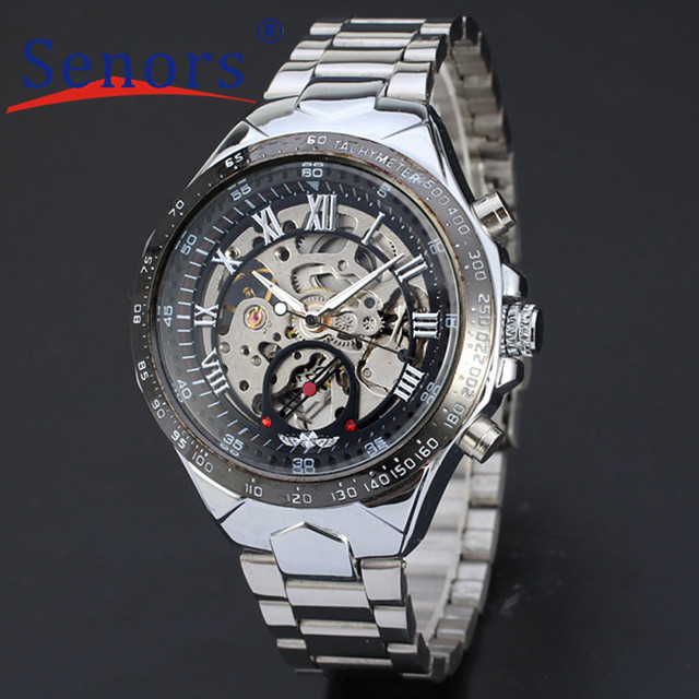 Essential 2016 New Russian Skeleton Automatic Watches For Men Silver Stainless Steel Wrist Watch Bracelet Dress Watches