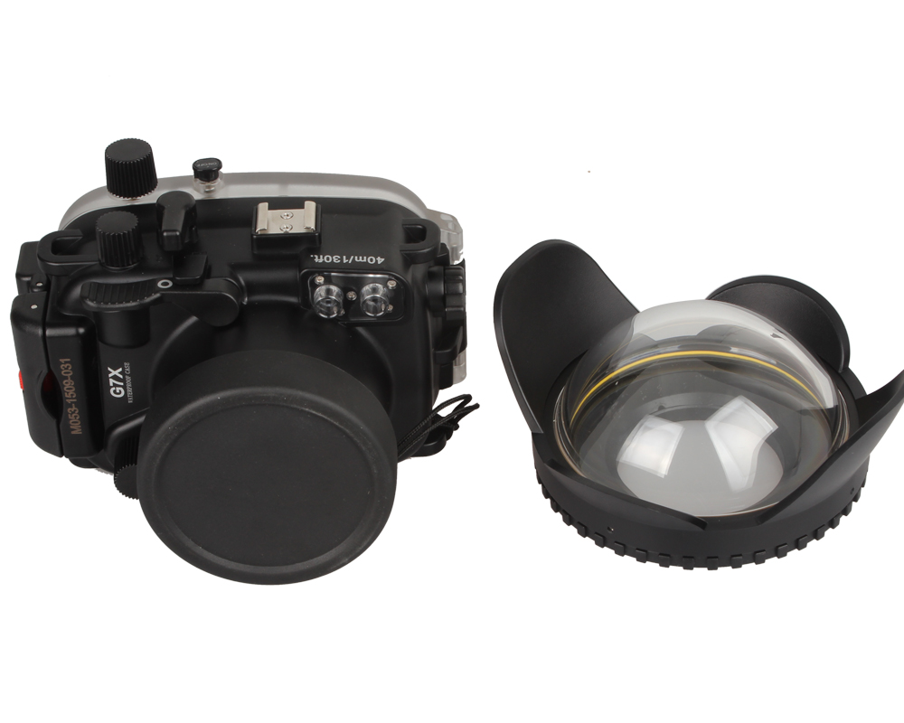 Meikon Waterproof Underwater Camera Housing Case for Canon G7X+ 200mm Fisheye Wide Angle Lens Dome Port (67mm meikon waterproof underwater housing camera diving case for canon g7x lens wp dc54 g7x