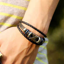 Cool Men's Multi-Layer Braid Faux Leather Metal Beaded Wristband Jewelry