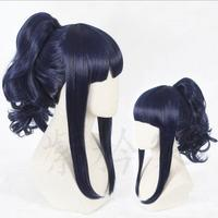 NARUTO Hyuga Hinata Cosplay Wig Curly Pigtails Synthetic Hair for Adult