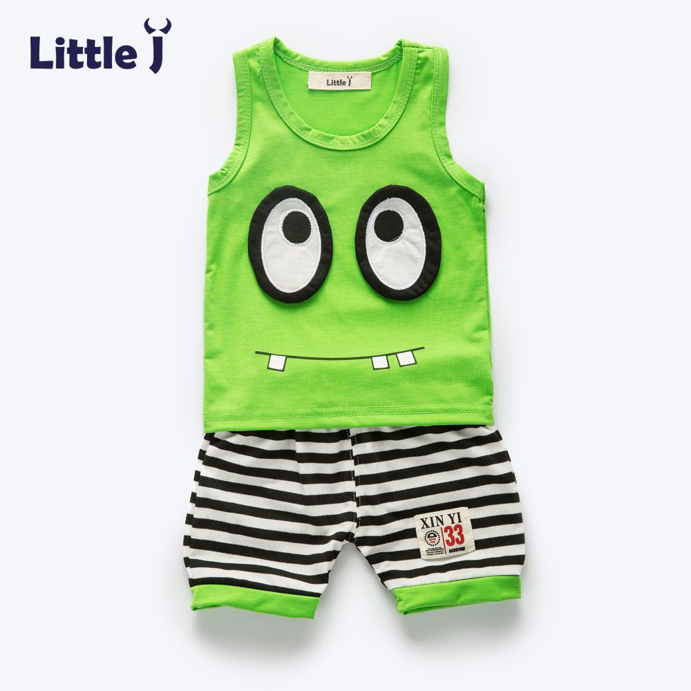 Clearance Summer Boys Girls Cartoon Vest + Stripe Short Sets Baby Cute Cotton Top Pants Casual Clothes Children Suits Outfits