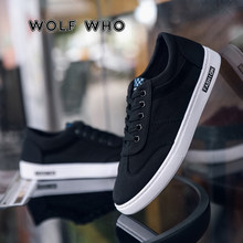 WOLF WHO 2019 hommes décontracté Chaussures en toile mode solide couleur baskets baskets Chaussures hommes Chaussures plates Chaussures pour hommes X-089(China)