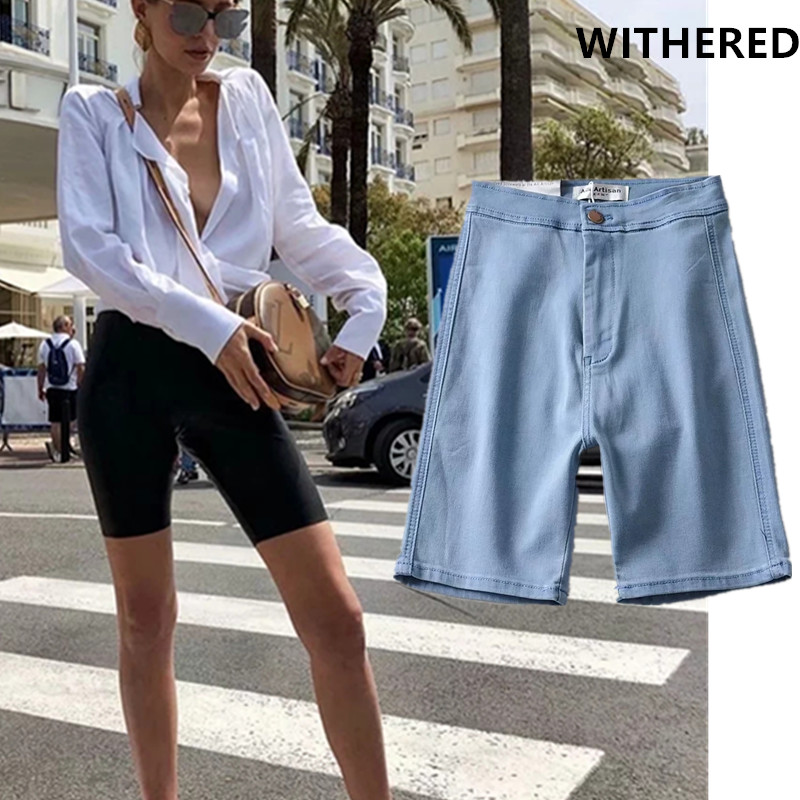 Withered High Street Vintage AA Wind Super Skinny Bike Denim Shorts Women Short Feminino Plus Size Women Short Plus Size