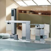 BAKALA Deck Mounted Bath Faucets Single Holder Dual Control Luxury Brass bathtub faucet LT 2140