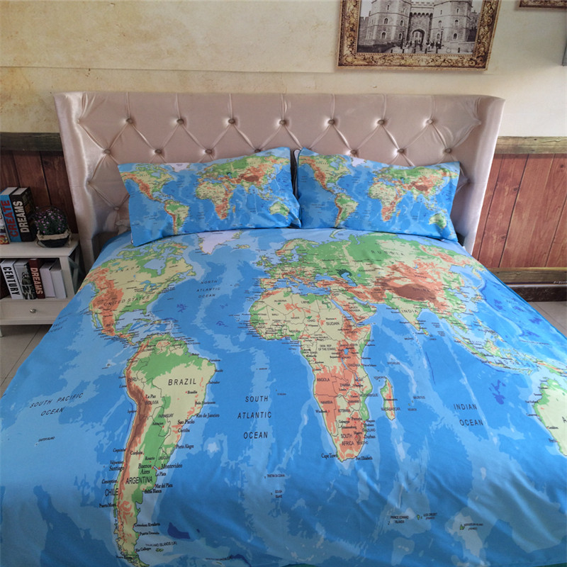 Bedding sets catalogue tokida for 34pcs world map bedding set vivid printed blue bed cover gumiabroncs Image collections