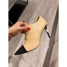 26f9033a6 Kmeioo النساء جلد طبيعي حذاء من الجلد اللؤلؤ عالية الكعب البريدي أشار تو  رقيقة الكعوب أزياء