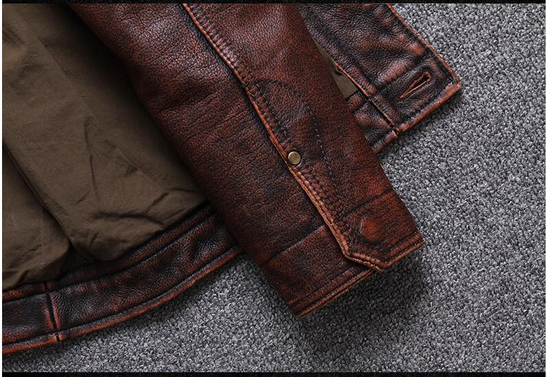 HTB19BkvPXzqK1RjSZFvq6AB7VXaI 2019 Vintage Brown Men Smart Casual Leather Jacket Single Breasted Plus Size XXXL Genuine Cowhide Russian Coat FREE SHIPPING