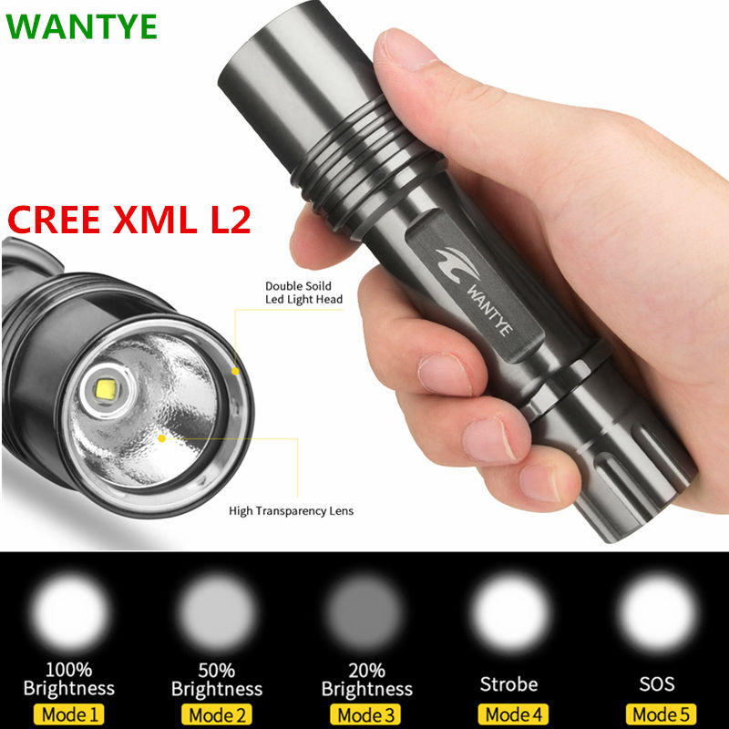 WANTYE Penlight 4000LM lamp XML L2 Waterproof LED Flashlight Torch 5 Modes Lantern Portable Tactical Flashlamp Lighting high power lamp xml t6 led flashlight 2000lm 5 modes led flashlamp torch lantern 2 18650 battery charger holder