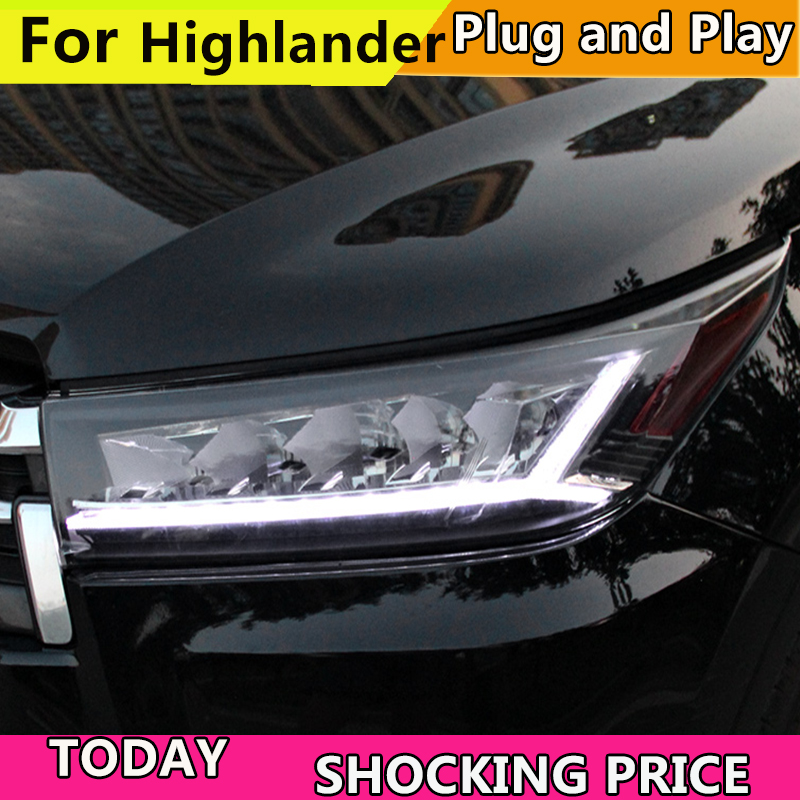 doxa Car Styling for 2018 New Highlander Headlights ALL LED Headlight DRL Bi LED Lens High