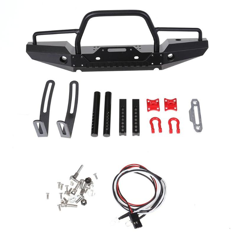 Universal Metal Front Bumper with 2 LED Light Winch Mount Seat for TraxxasTRX-4 SCX10II 90046 1/10 RC Rock Crawler Car