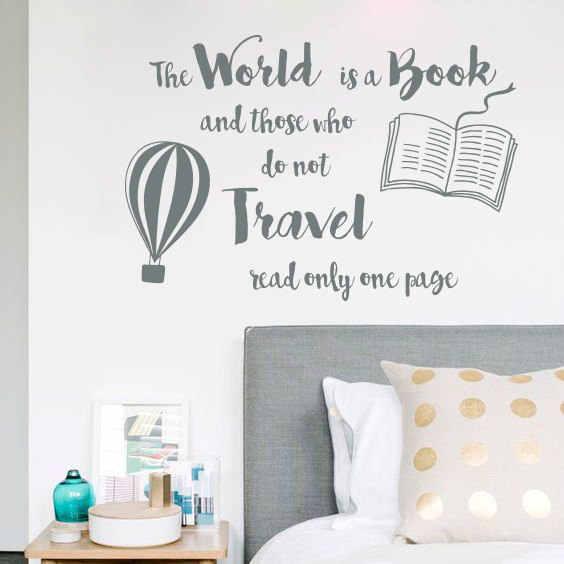 Thế giới là Cuốn Sách Trích Tường Sticker Đi Du Lịch Thiết Kế Tường Nghệ Thuật Decal Trang Trí Phòng Trẻ Em Hot Air Balloon Tường Áp Phích AY1680