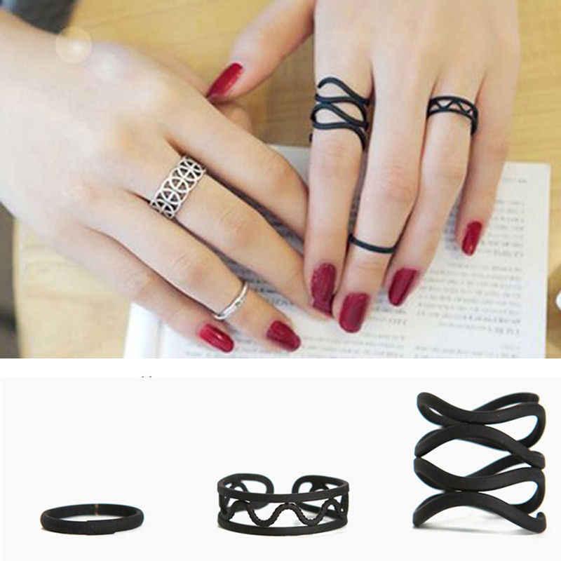 ผู้หญิงเหนือข้อมือแหวนนิ้วกลางเคล็ดลับแหวนชุดเครื่องประดับเกาหลีสไตล์พังค์แหวนกากบาทสีดำ 3 ชิ้น/เซ็ต