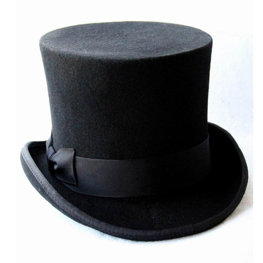 17cm(6.67inch) Black 100% Wool Women Men Top Hat Chapeau <font><b>Fedora</b></font> Hat Felt Vintage Trational Party Church Hats DIY Steampunk Hat