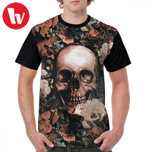 купить Skull T Shirt Floral And Skull II T-Shirt Plus size Mens Graphic Tee Shirt Streetwear Awesome Graphic Short Sleeve Tshirt в интернет-магазине