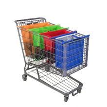 4pcs/Set Cart Trolley Supermarket Shopping Grocery Grab Storage Bags Foldable Reusable Eco-Friendly Handbag Totes Storage Bag